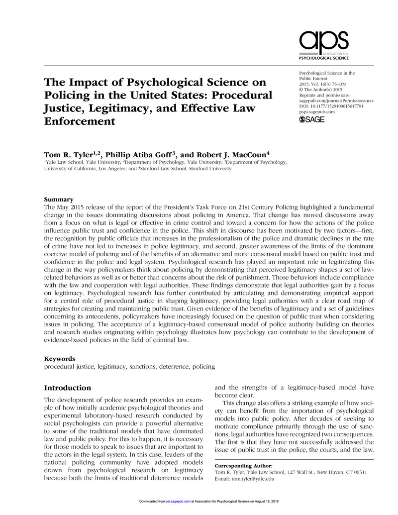 The Impact Of Psychological Science On Policing In United States Procedural Justice Legitimacy And Effective Law Enforcement