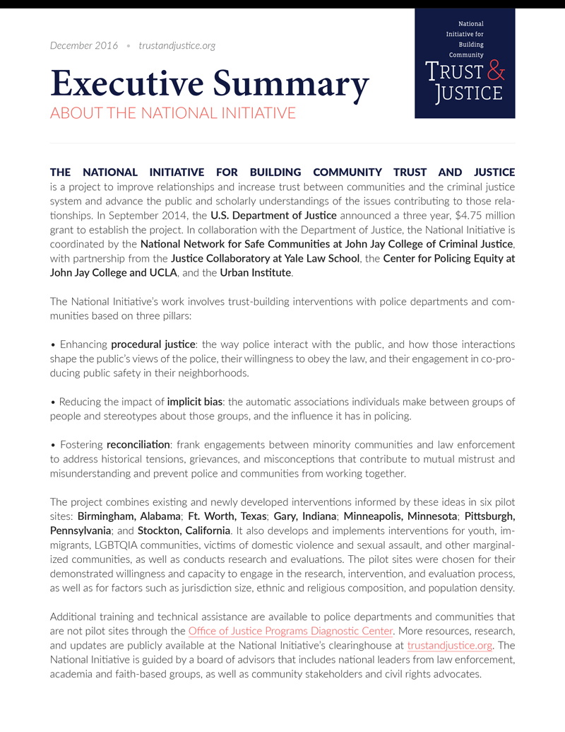 National Initiative For Building Community Trust And Justice  An Executive Summary