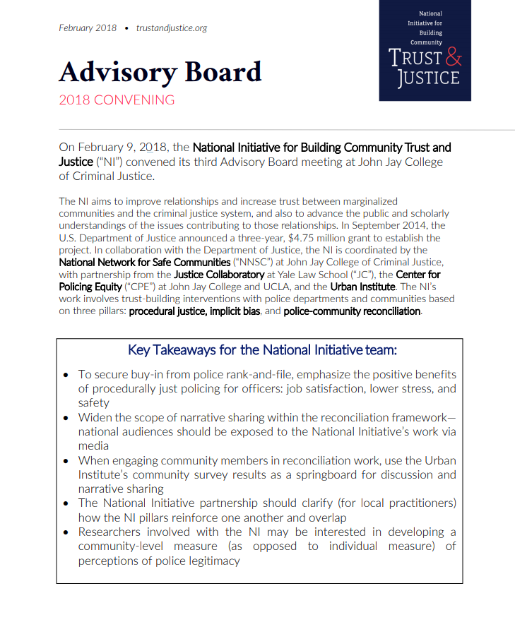 National Initiative Advisory Board Highlights